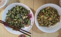 周末美食之家常菜:辣椒炒蛋、爆炒四季豆
